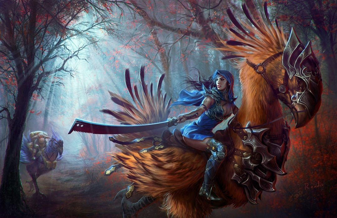 games video-games fantasy forest trees action adventure creatures monsters weapons sword women girls wallpaper