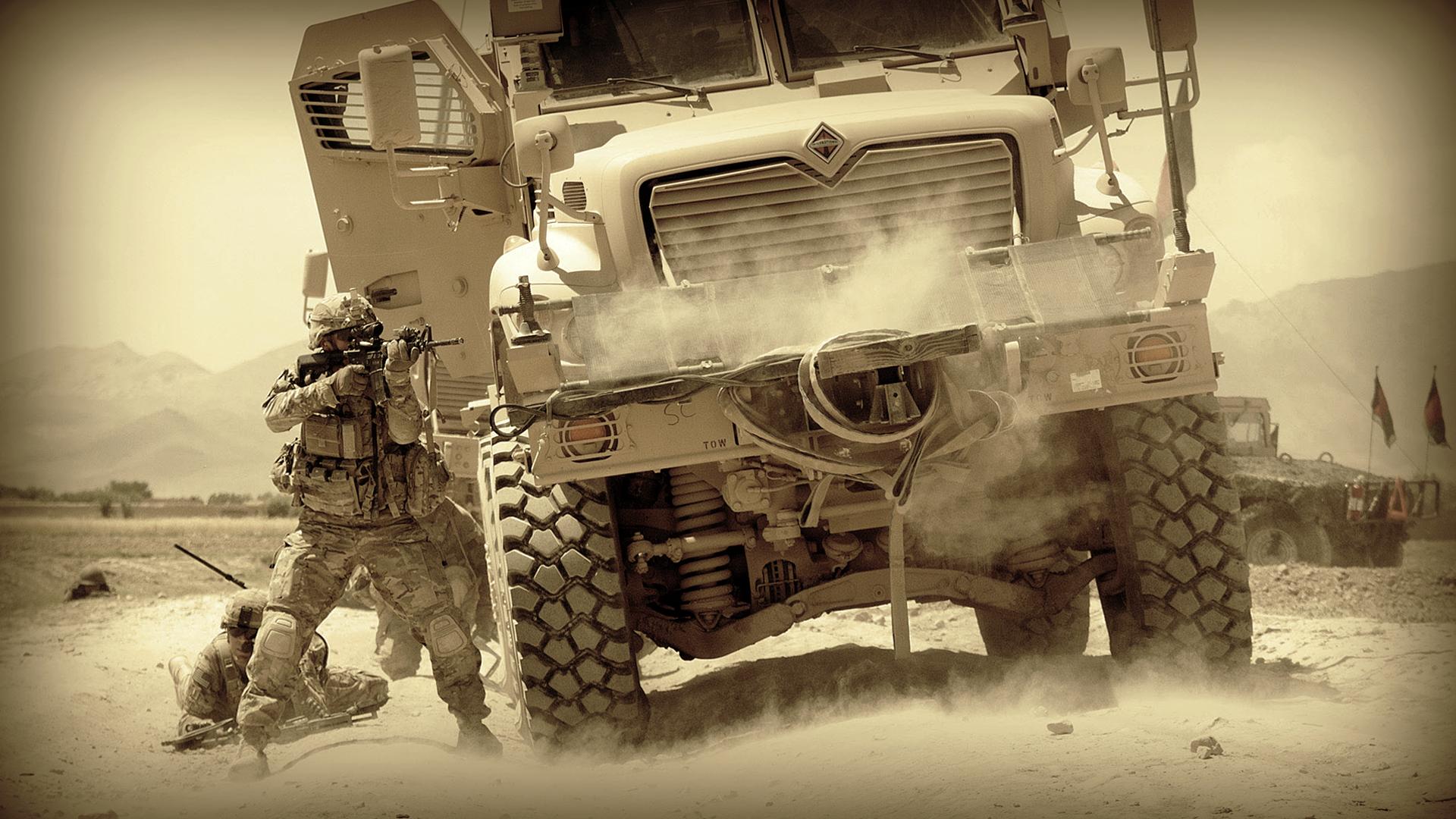 Military soldiers mood warriors war battle trucks people ...