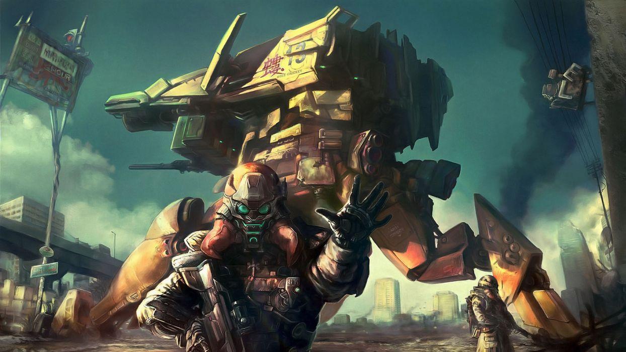 hyo-seok-kim_mecha mech warriors soldiers wepons robot sci-fi weapons guns wallpaper