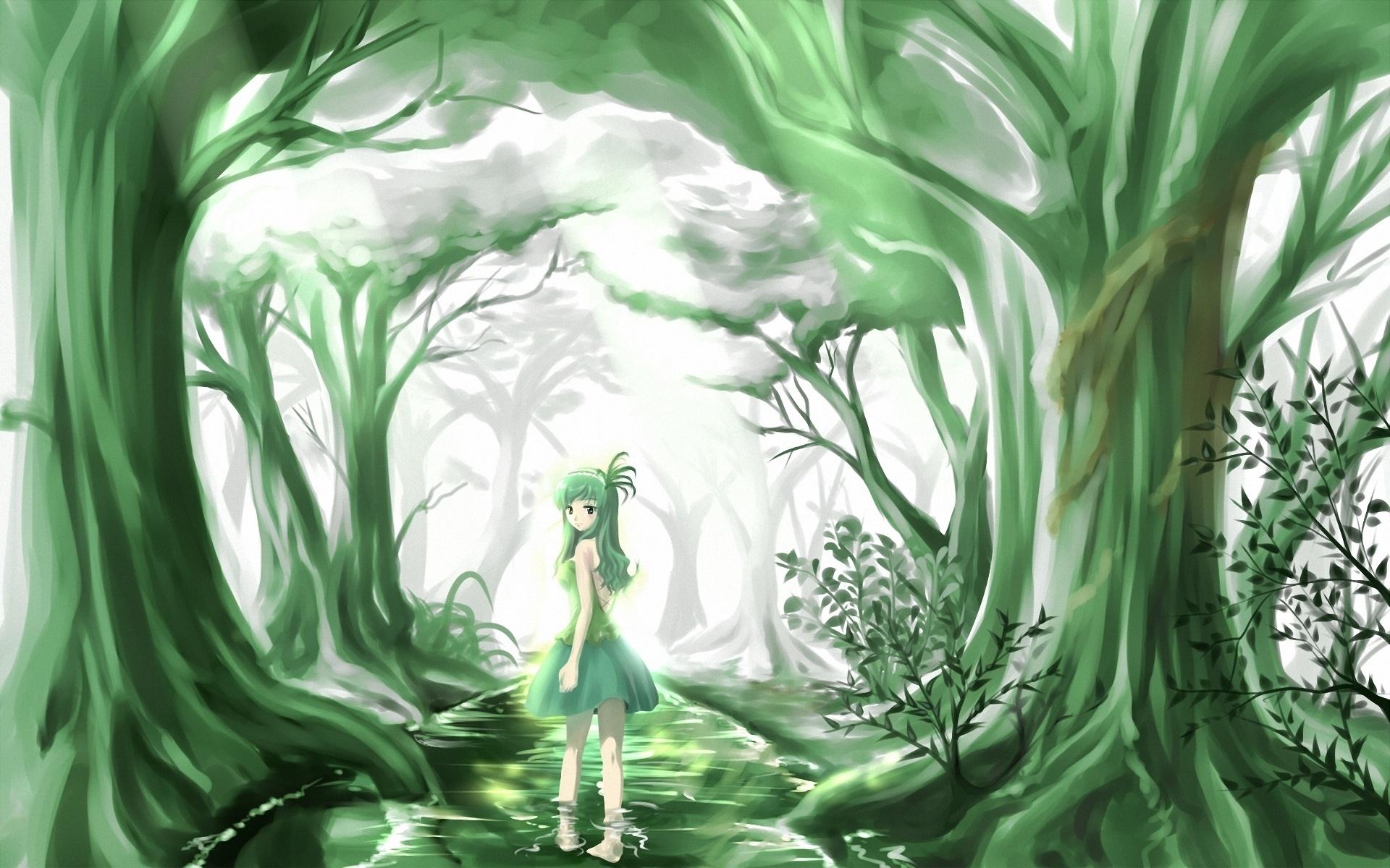 anime original trees forest artistic cute women girls wallpaper