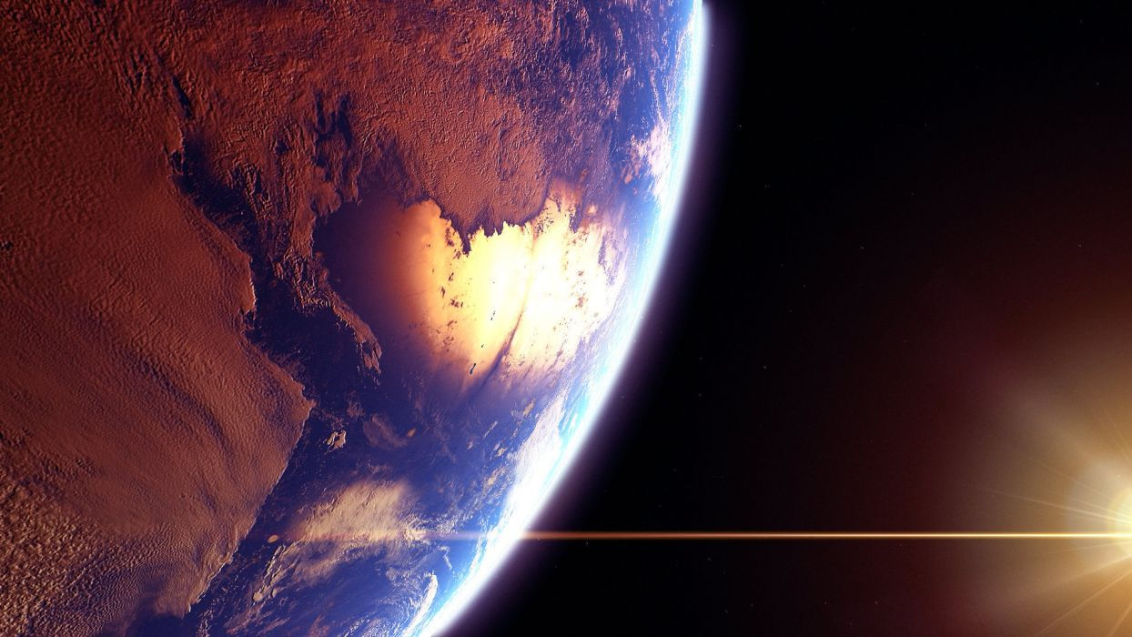 space planets earth sun sci-fi landscapes reflection oceans wallpaper