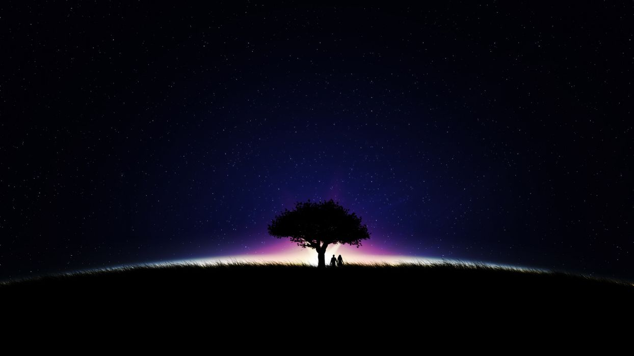 landscapes nature people love romance night stars skies trees colors mood wallpaper