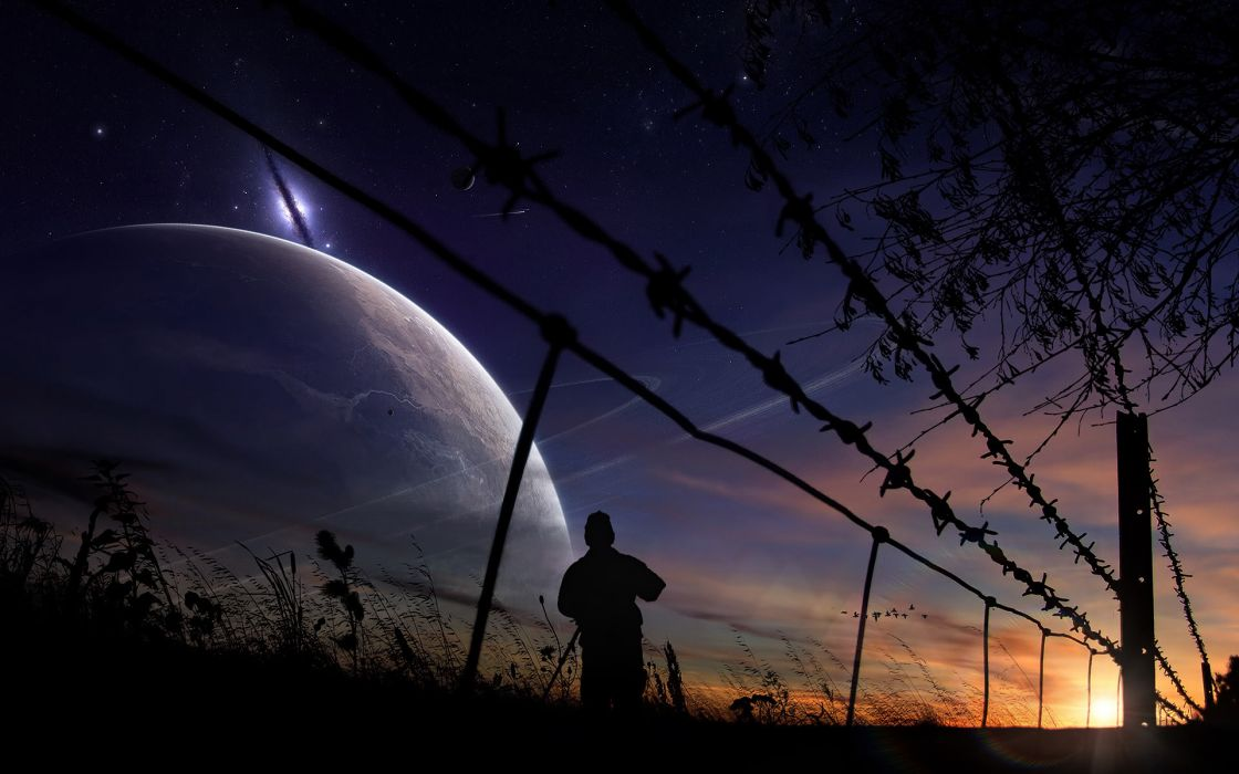 manipulation photography cg digital-art sci-fi fantasy skies planets mood fence landscapes nature sunset moon wallpaper