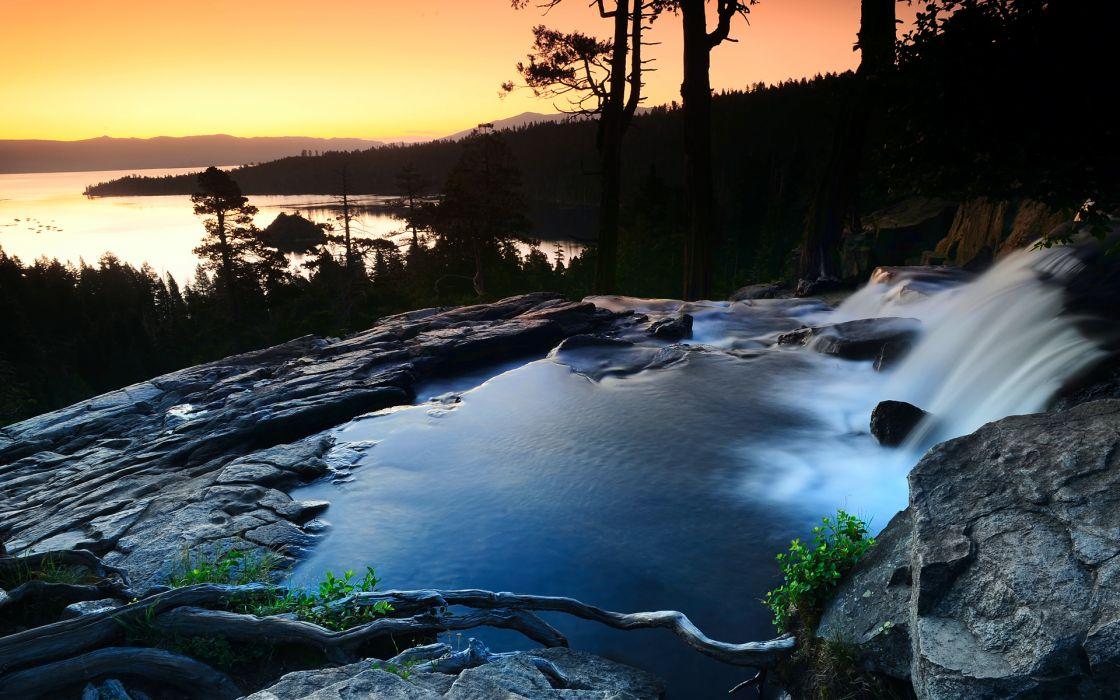 nature landscapes waterfalls sunset sunrise pool skies water wallpaper