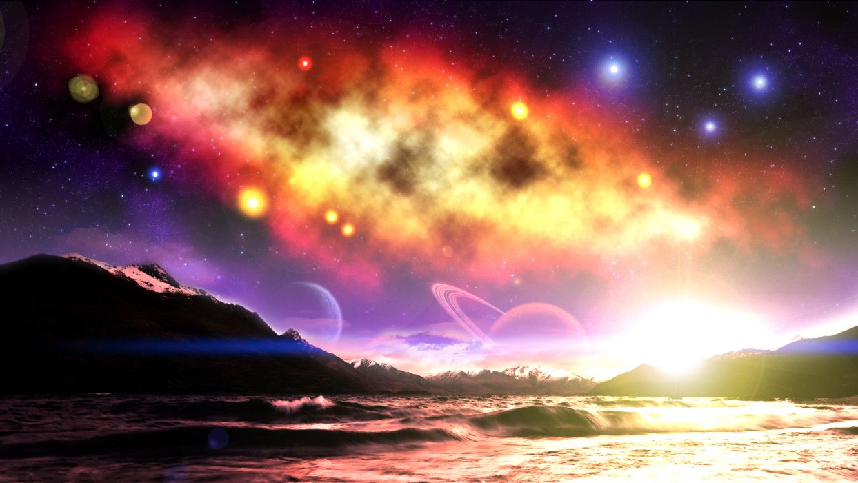 manipulation cg digital-art sci-fi fantasy magical colors landscapes nature space skies stars planets nebula wallpaper