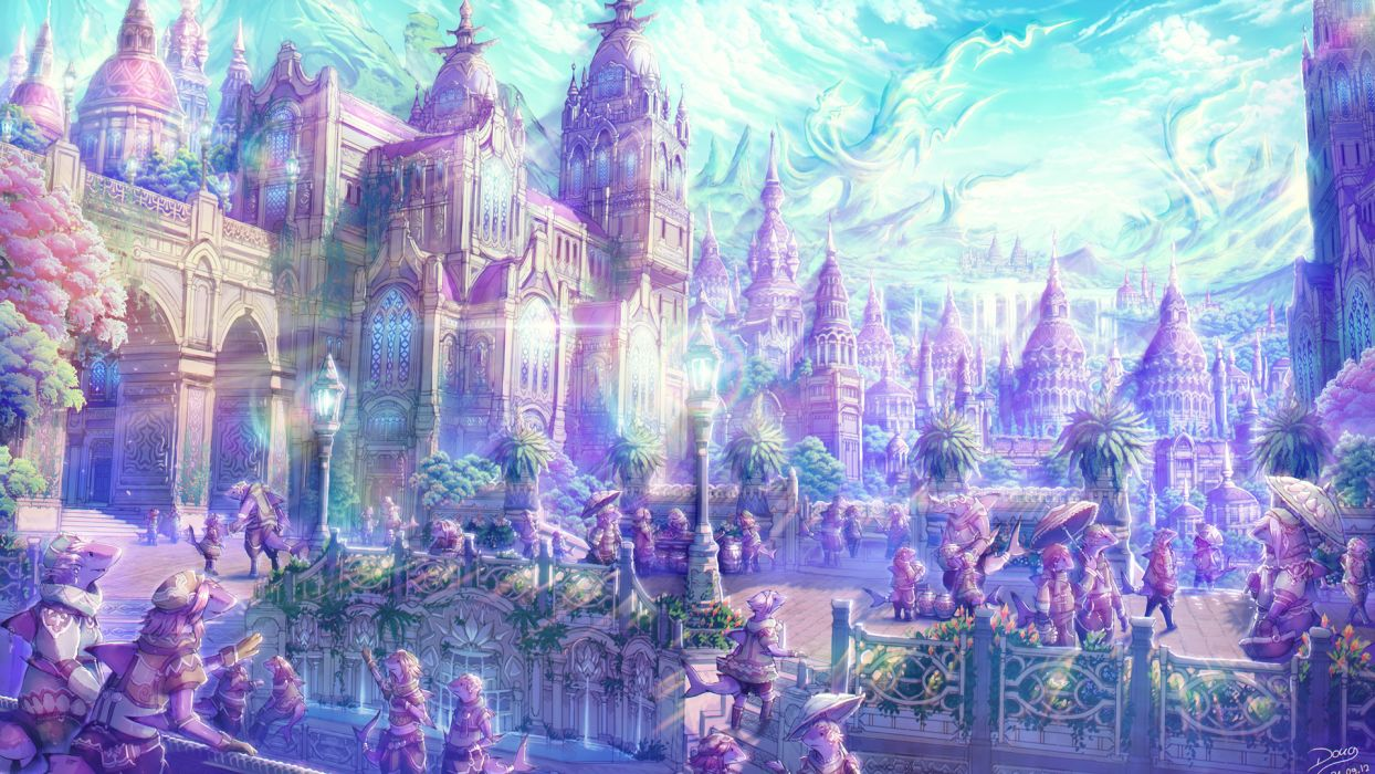 anime artistic cities fantasy soft castles landscapes places magical wallpaper