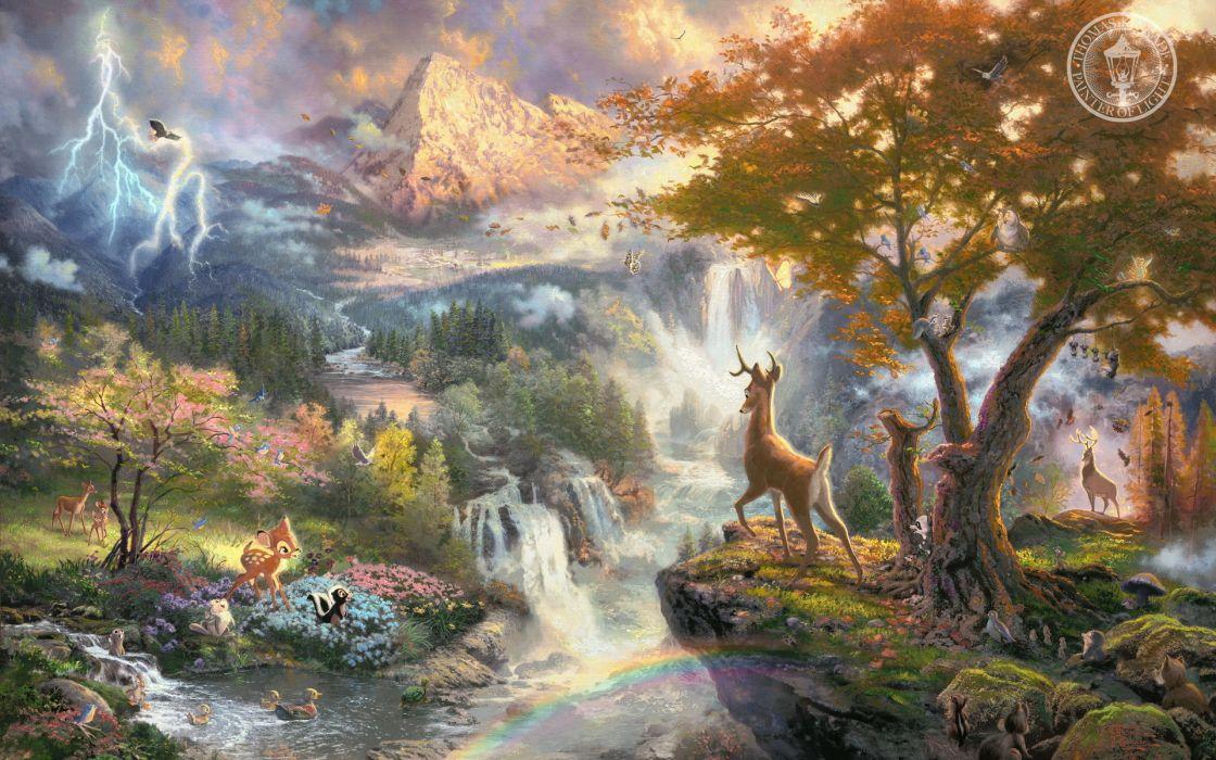 thomas-kinkade kinkade disney cartoons movies landscapes nature bambie animals artistic paintings cute wallpaper