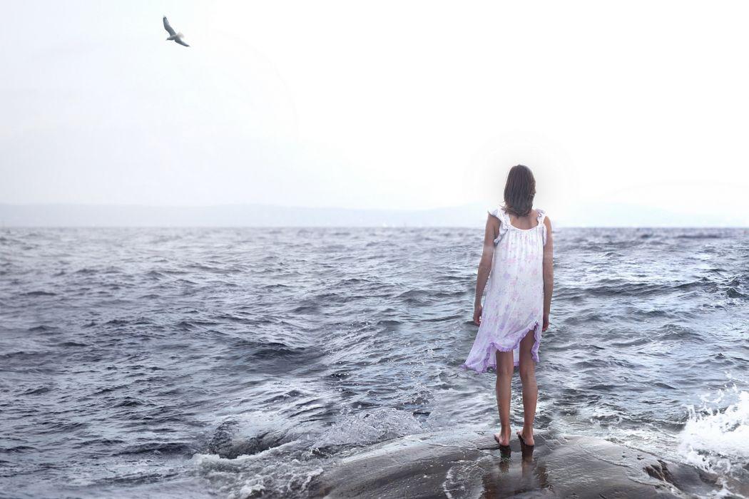 mood women girls sad sorrow loneliness oceans waves  wallpaper