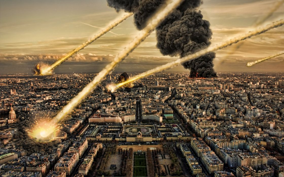manipulation apocalyptic paris invasion destruction cities fire flames missile smoke cg digital-art wallpaper