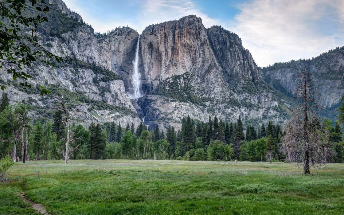 nature landscapes cliff waterfalls mountains trees forest wallpaper