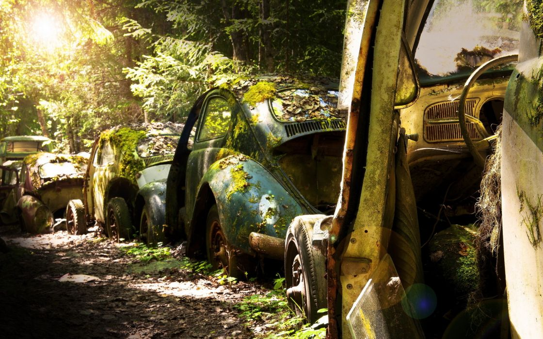 vehicles carsvw volkswagon ruins wrecked decay wallpaper