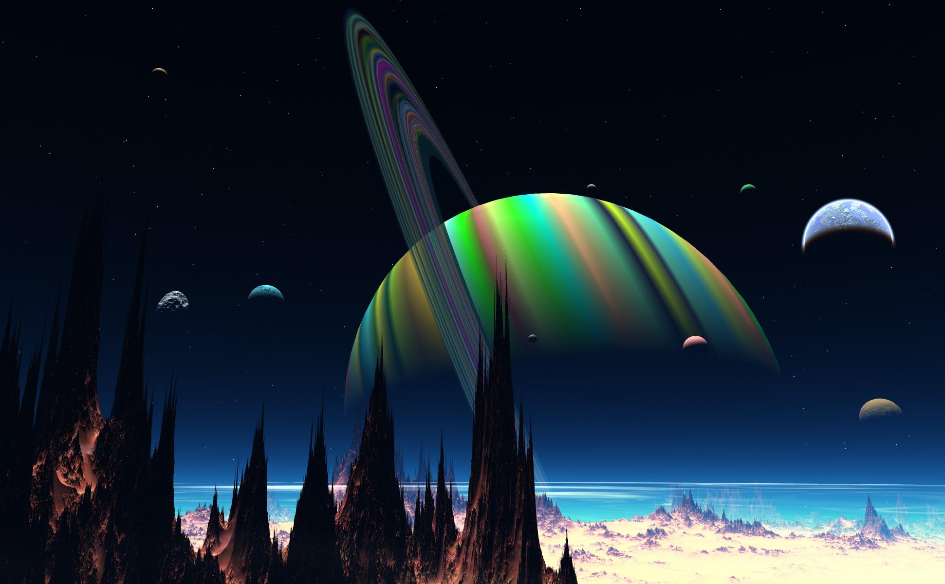 Cg digital-art 3d space universe landscapes planets moon ...