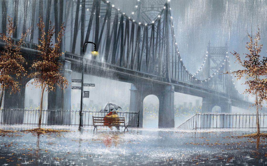 Jeff-Rowland Rowland paintings rain people scenic bridges wet storm artistic art autumn fall seasons wallpaper