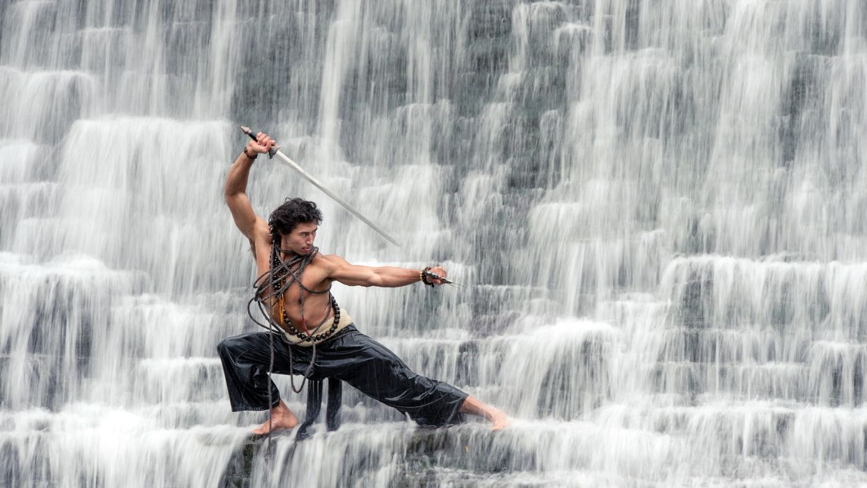 landscapes waterfalls nature men males weapons swords katana warriors people martial-arts wallpaper