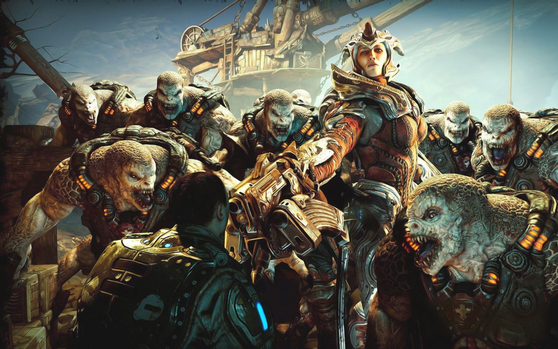 gears-of-war games video-games warriors soldiers fantasy monsters creatures weapons wallpaper