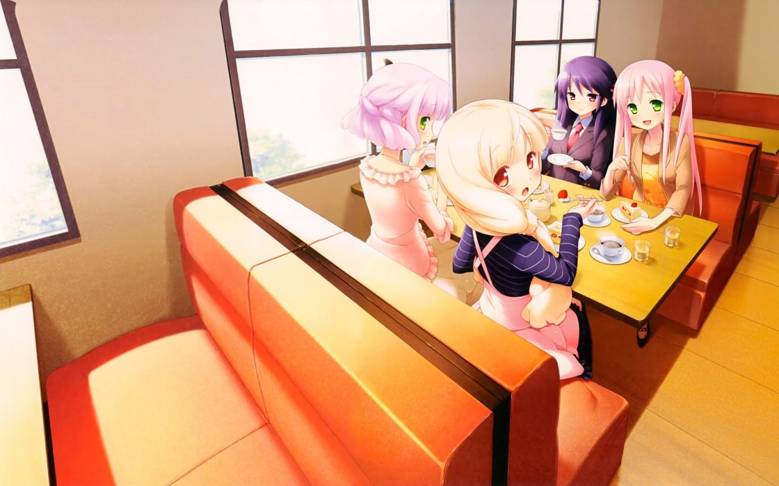 Food kasumi purple hair pink hair natsume digital art drinks anime girls cofee cafe sourire wallpaper