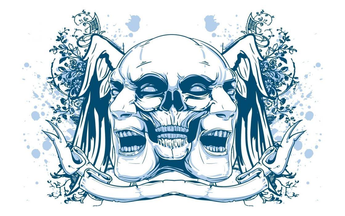 dark skulls creepy spooky tattoo wallpaper