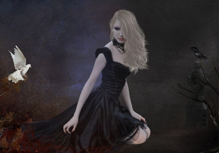 manipulation cg digital-art women girls females gothic raven poe sad sorrow emotion mood fantasy wallpaper