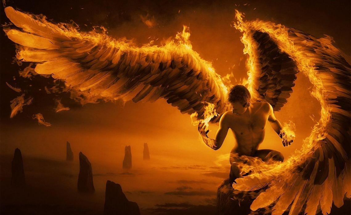 Fantasy dark angel fire flames fallen hell demon satan ...