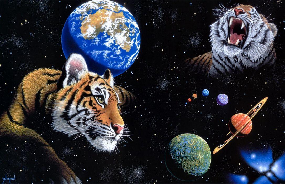 William-Schimmel Schimmel tigers animals sci-fi space universe stars planets nebula psychedelic cg digital-art wallpaper