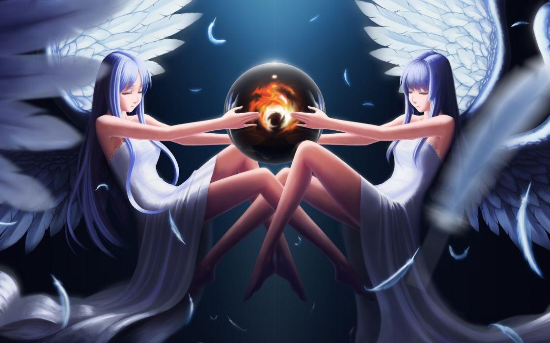 Ys_Darkmuleth Falcom anime angels girls wings magical globe sphere sci-fi space wallpaper