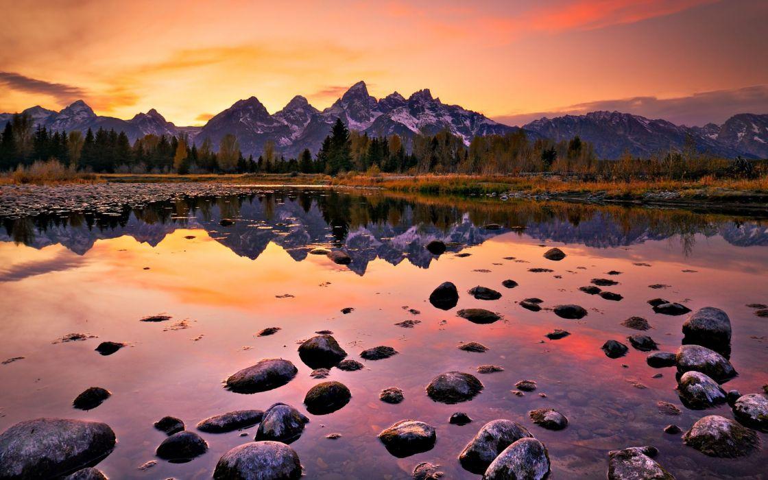 nature landscapes reflection sunset sunrise mounatins lakes autumn fall seasons rocks skies wallpaper
