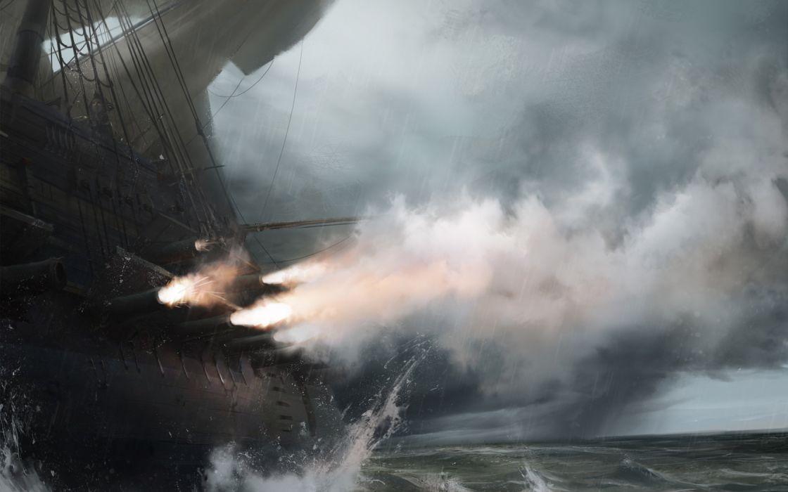 fantasy pirate ships explosion fire flames ocean action adventure battles war smoke clouds wallpaper