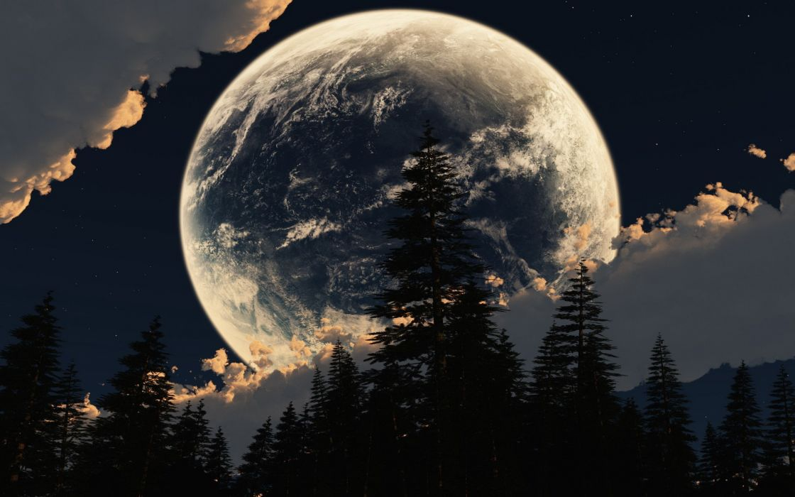 cg digital-art manipulations space sci-fi planets moon skies clouds scenic trees forest night lights surreal wallpaper