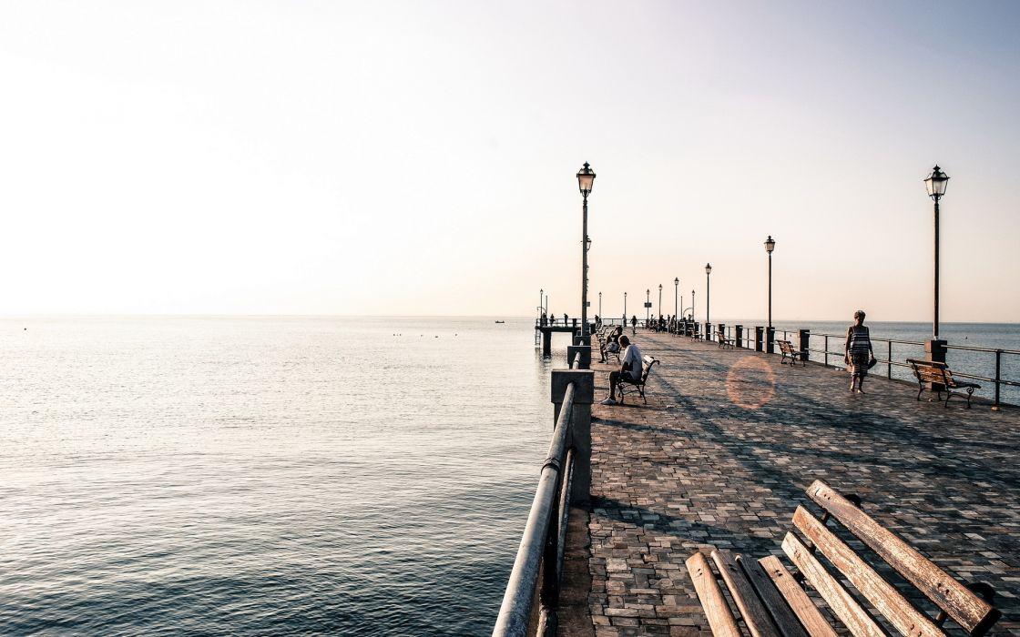 architecture pier dock people scenic ocean photography wallpaper