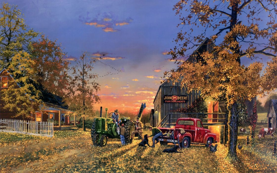 Dave-Barnhouse Barnhouse paintings country artistic farm vehicles tractor people landscapes autumn fall seasons holidays thanksgiving wallpaper