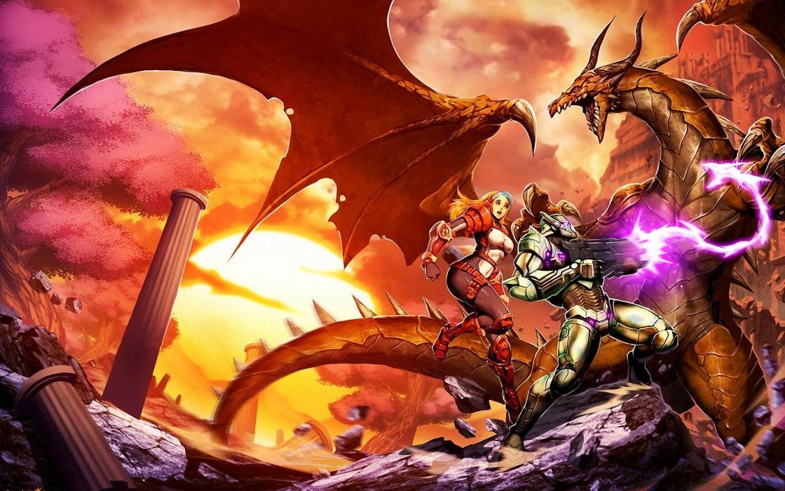GunLord games video-game fantasy warriors magic dragons colors weapons guns wallpaper