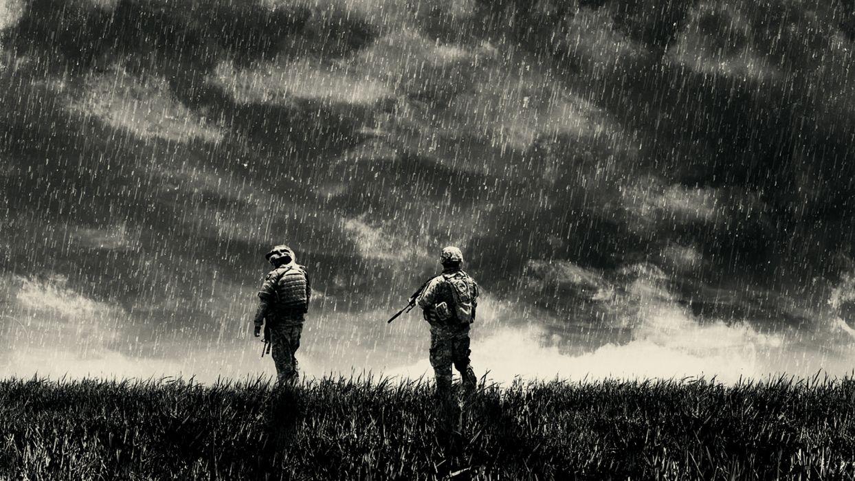 people military soldiers warriors cg digital-art manipulations storm rain drops weapons guns black-and-white black white b/w wallpaper