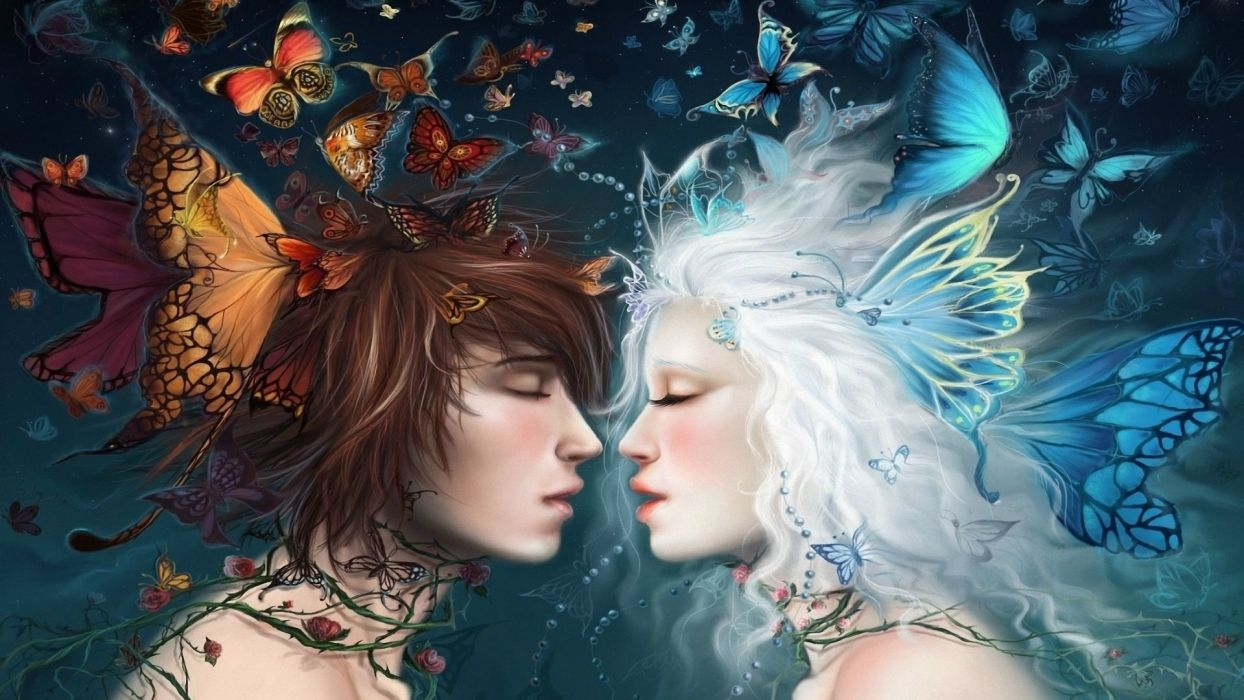 fantasy fairy gods love romance mood emotions kiss women females girls men males elf elves artistic paintings butterflies insects wings colors wallpaper