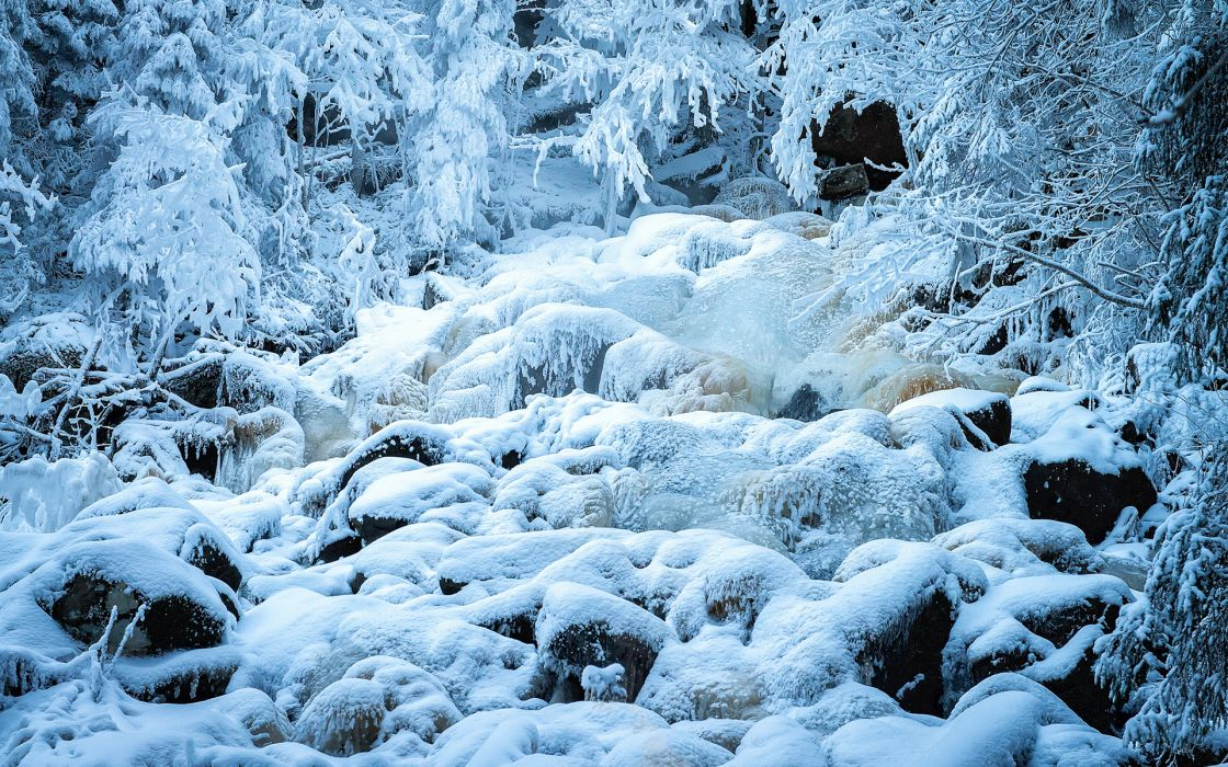landscapes nature winter snow seasons rivers frost white ice wallpaper