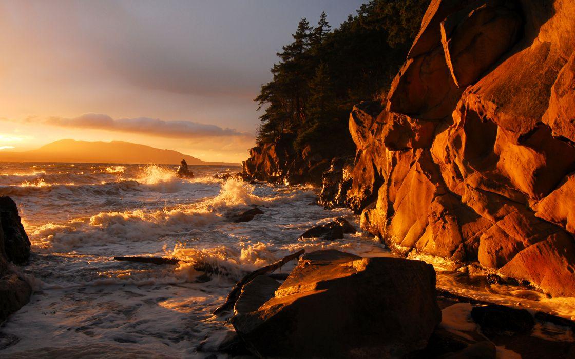 landscapes seascapes nature ocean sea waves sunset sunrise ckiff scenic wallpaper