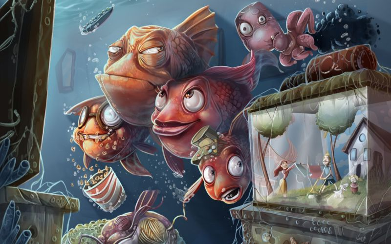 humor funny surreal fishes animals cartoons colors situations sadic dark creepy spooky wallpaper