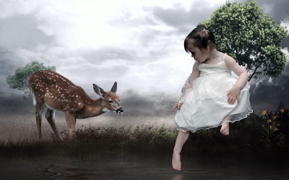 fantasy cg digital-art manipulations photography artistic cute girls children deer animals babies wallpaper