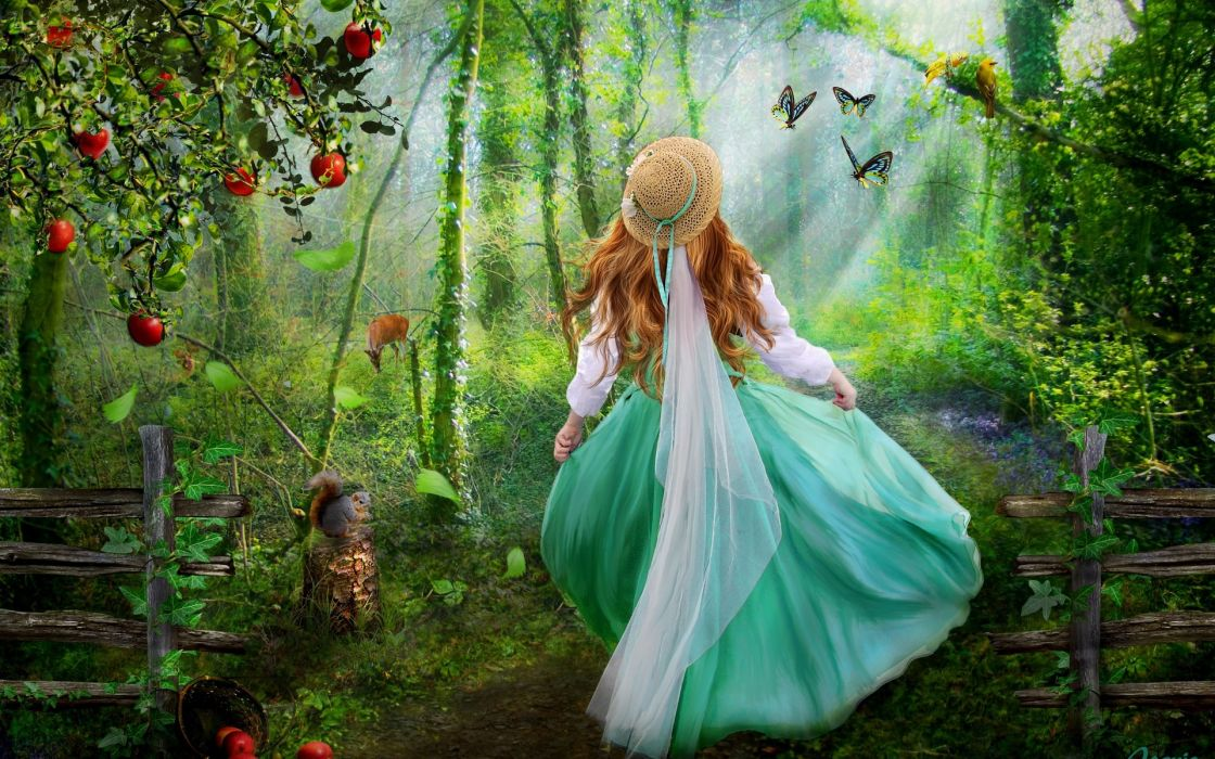 fantasy cg digital-art manipulations photography artistic cute trees forest magical children mood happy emotions animals girls gowns butterflies soft wallpaper