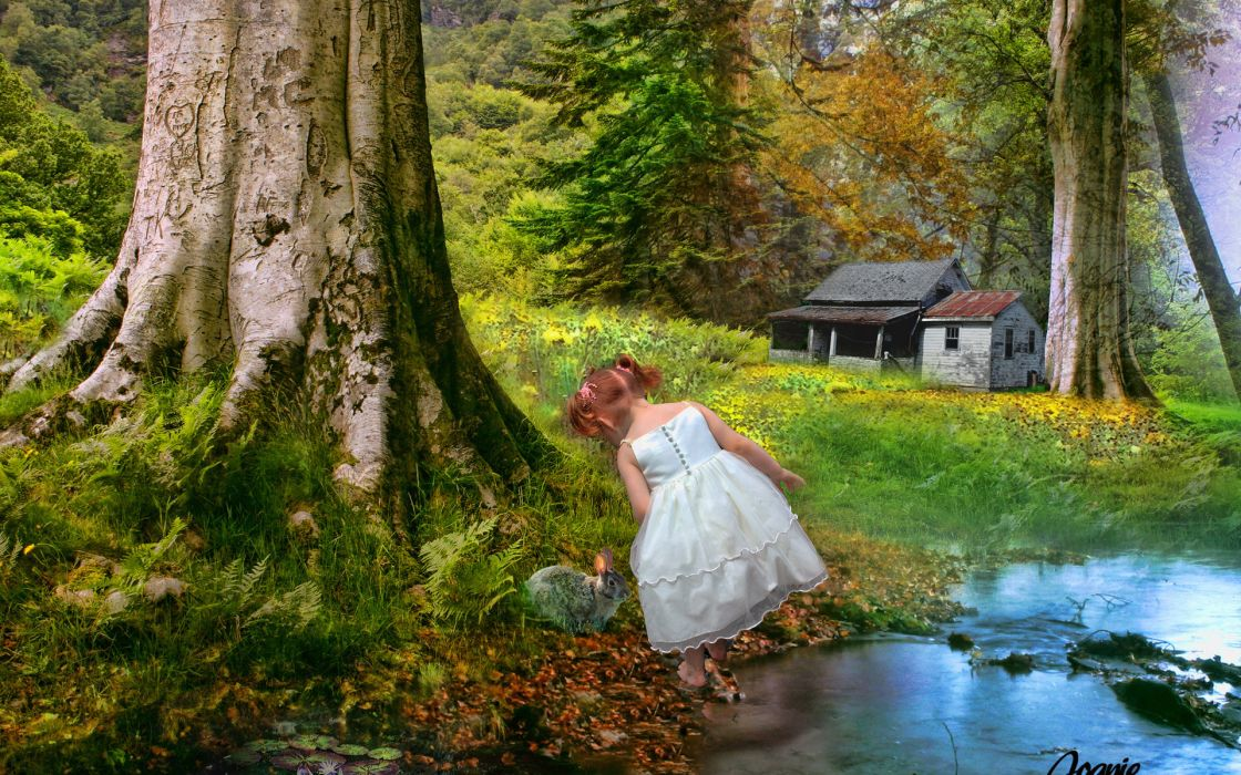 paintings children cute artistic landscapes mood happy houses wallpaper