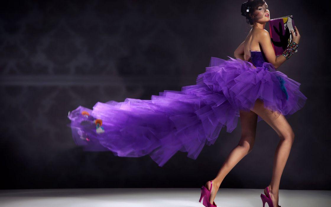 women females girls babes models sexy sensual fashion style dress purple legs wallpaper