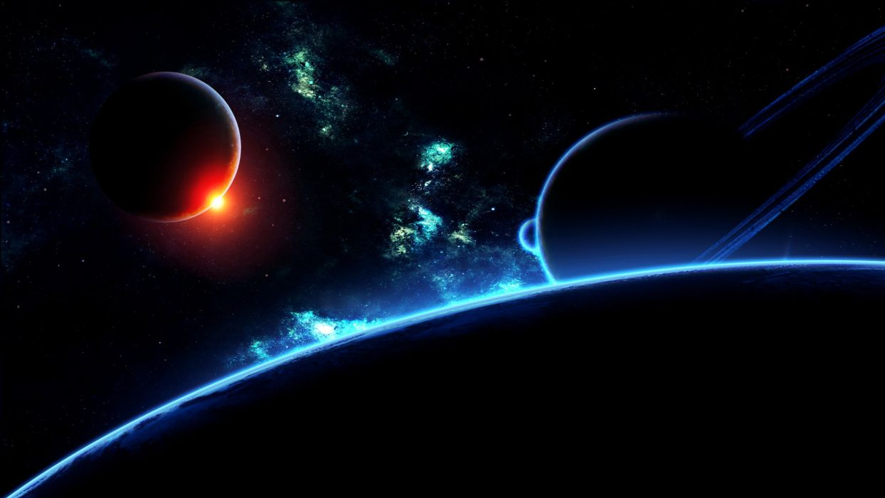 sci-fi space universe stars sun contrast digital-art cg nebula colors wallpaper