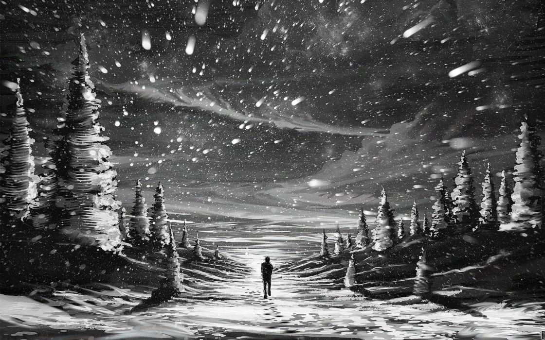 anime paintings artistic mood snowflakes snow nature storm people alone emotions trees snow winter wallpaper