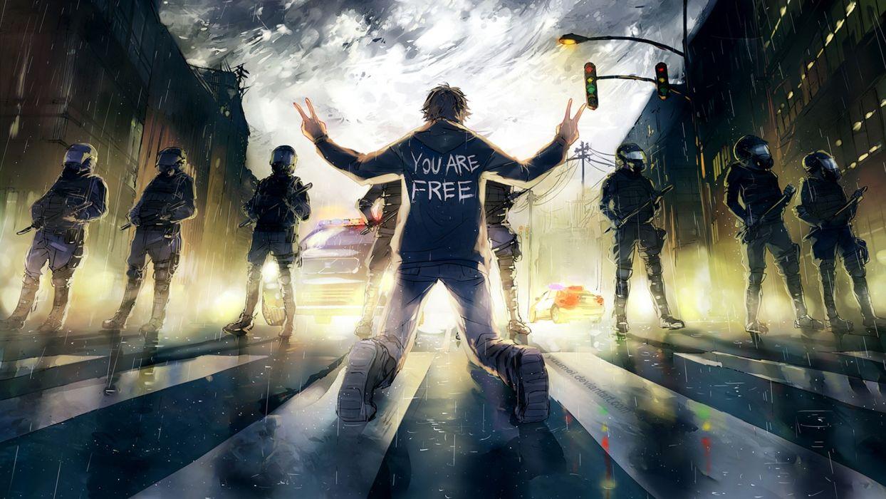 yuumei_deviantart_com cg digital-art paintings airbrushing anarchy riot people police artistic cities dark wallpaper