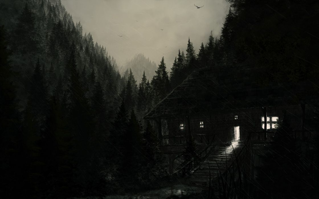 dark spooky creepy cabin houses architecture buildings trees forest landscapes night lights artistic haunted halloween seasonal wallpaper