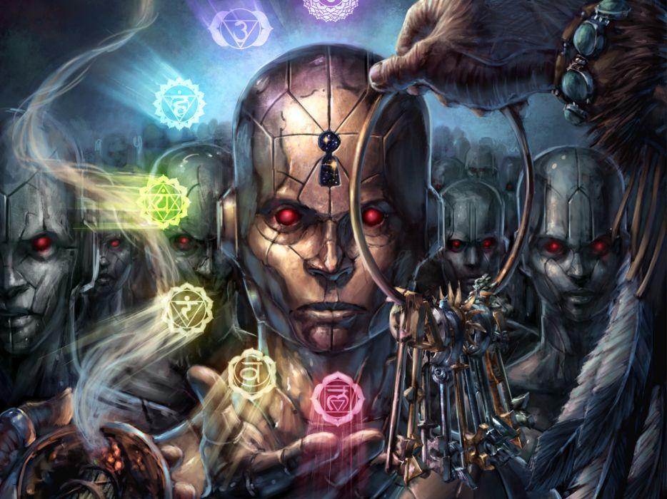 nmezero_deviantart_com dark occult sci-fi psychedelic cyborgs robot cg digital-art magical wallpaper