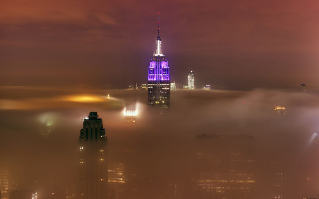 new-york cities architecture buildings skyscrapers night lights hdr clouds fog mist skies wallpaper