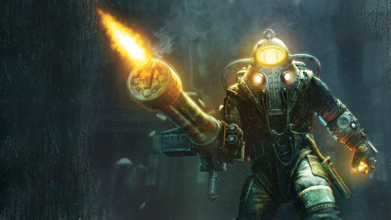 bioshock games video-games sci-fi warriors dark weapons guns mech fire flames explosions wallpaper