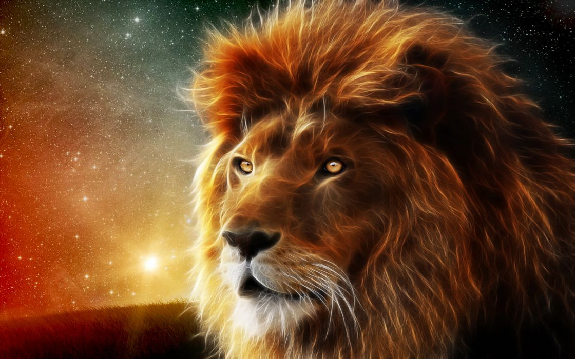 animals lion abstract fractal sci-fi space nebula stars wallpaper