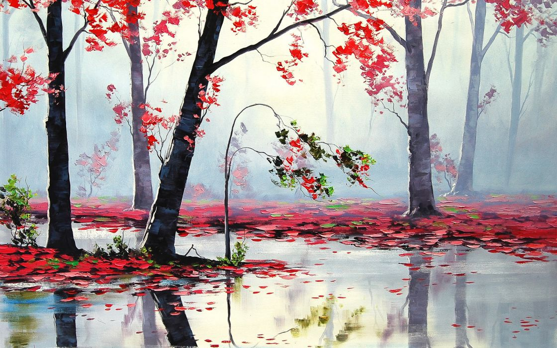 landscapes nature trees forest autumn fall seasons leaves paintings artistic rain wet reflection wallpaper