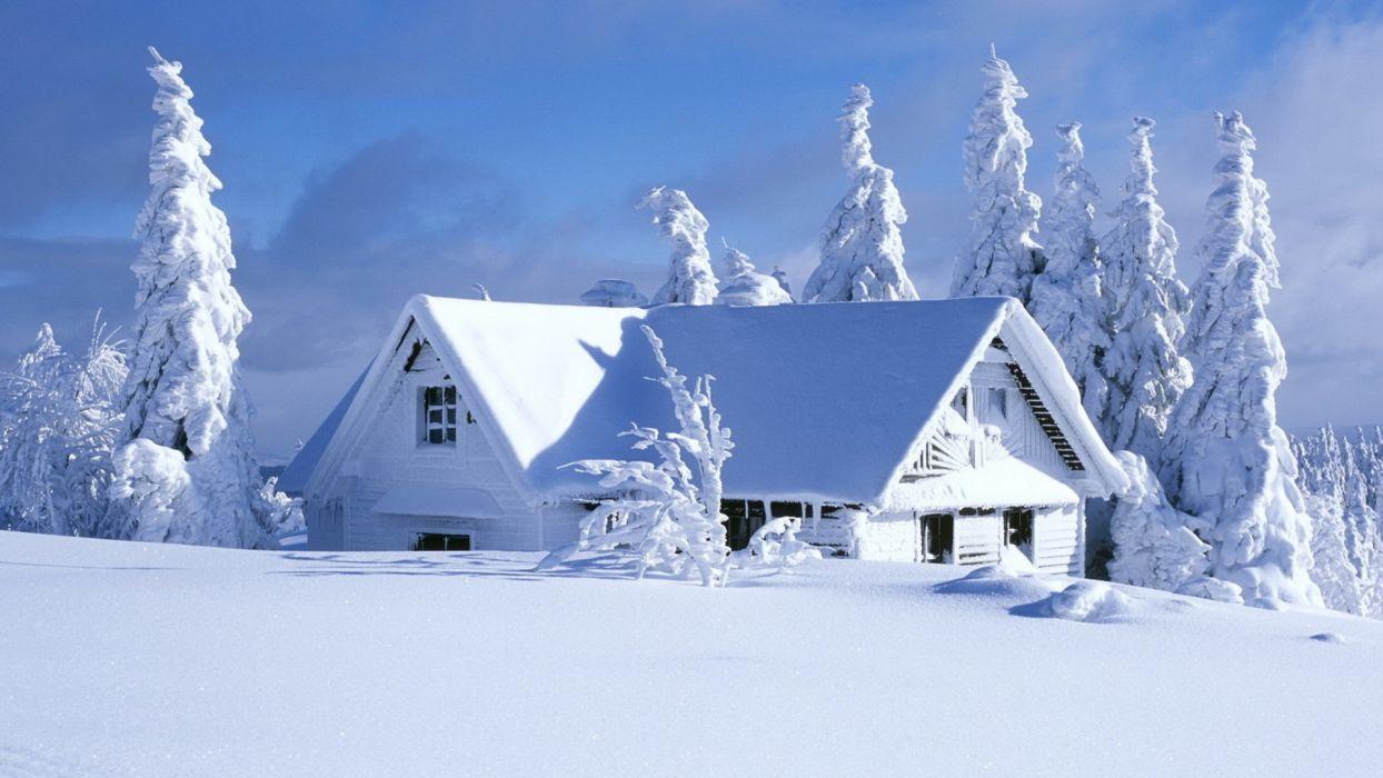 landscapes nature wintermsnow seasons architecture houses white wallpaper